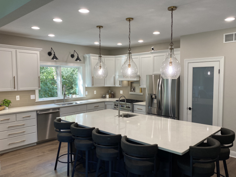 Image of a kitchen with a center island.